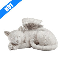 Resin White Cat Angel Statue Pet Memorial