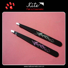Personalized Glitter Flower Pattern Printed Tweezers for Eyelash Extensions Cheap Girls Beauty Tweezers
