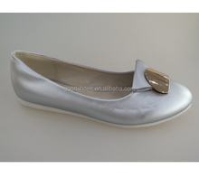 Silver sheep skin sweat leather shoes flat for ladies nice quality