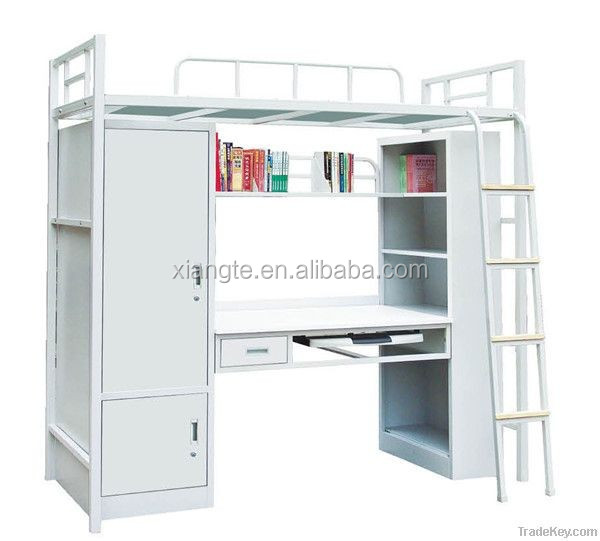 double metal bunk bed with desk
