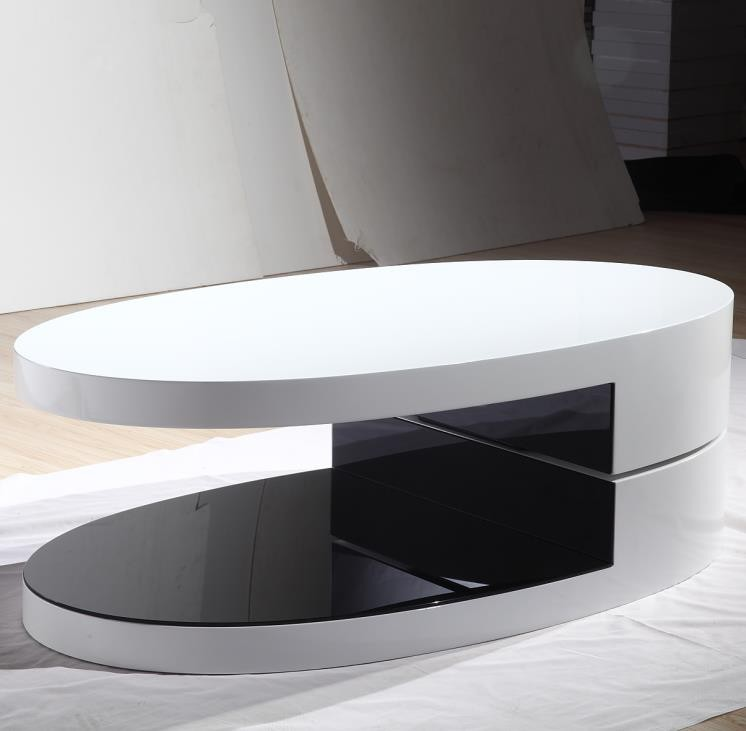 Modern Fashion Oval Shape Rotation Wooden Center Table