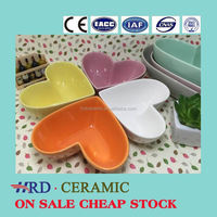 Stocked heart shape sala bowl,ceramic soup bowl for microwave oven
