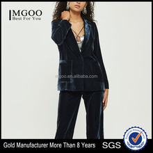 MGOO Hot Selling Longline Velvet Blazer Ladies Fashion Design One Button 100% Polyester Jacket
