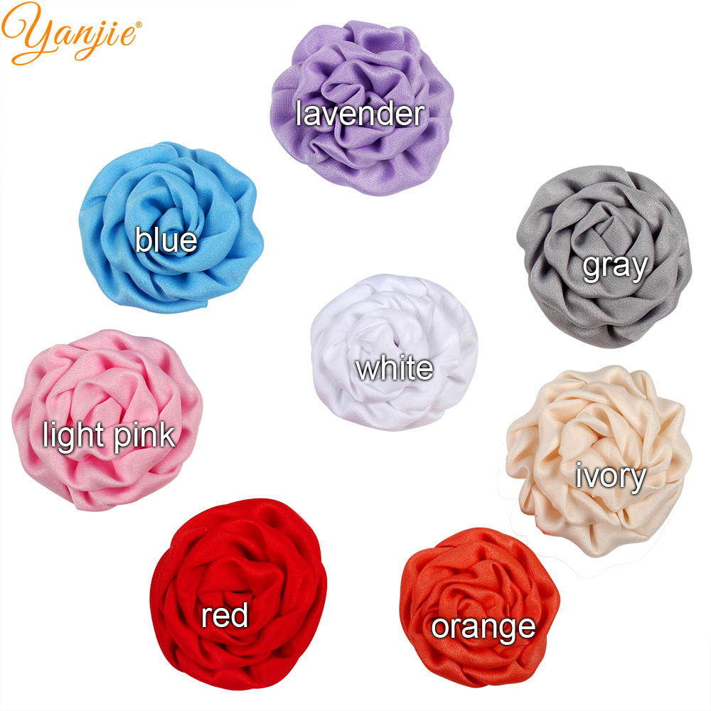 "Chic Cute Girl 1.5"" Satin Rose Handcraft DIY Soft Flowers Hair Accessories For Kids Girls Hair Decoration 2019"