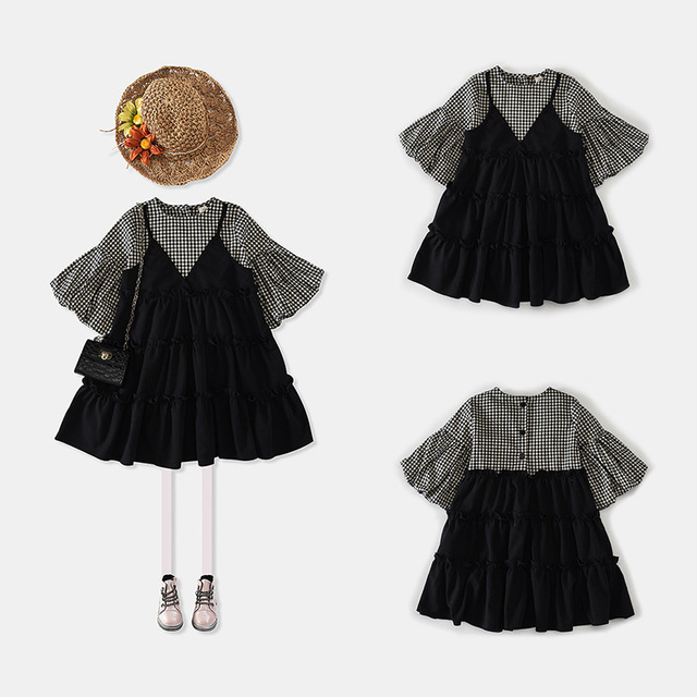Boutique Clothes kids Bubble Sleeve Shirts Joint Vest Ruffled Black Frocks 11277