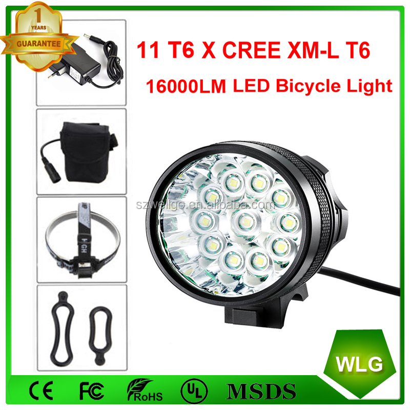 High light T6 11T6 16000 Lumen Waterproof LED Front Bicycle Bike Light Set Headlight + customize 18650 Battery Pack Rechargeable