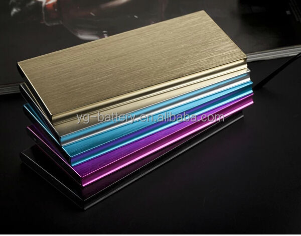 Metal Mobile Power Bank Ultra Thin 10000mah Li Polymer Double USB 5V 1A 2A Portable Battery Charger with High Bright LED Light