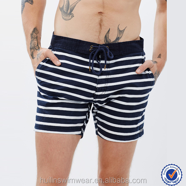 Wholesale swimwear handsome mens swim shorts with black and white stripe fabric