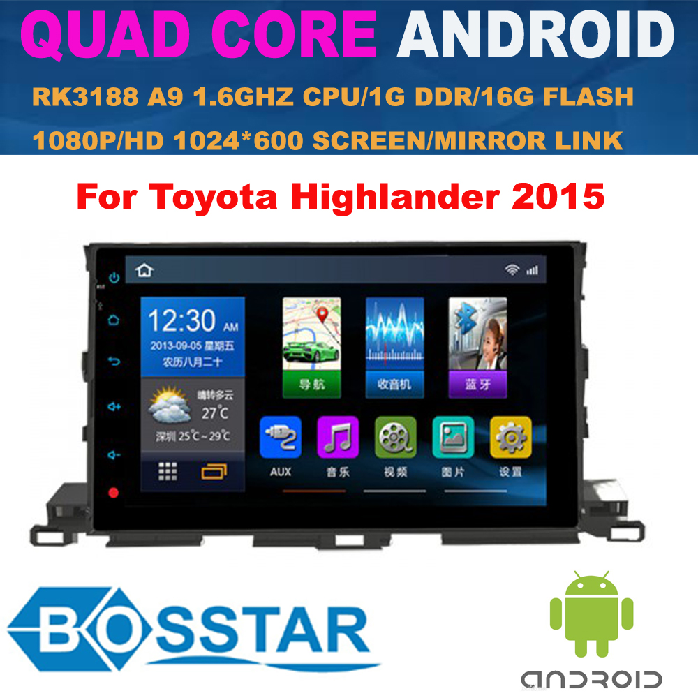 "Bosstar 10.1"" quad core Android 4.4 car stereo dvd gps player for TOYOTA HIGHLANDER 2015 with 3G,wifi,1G RAM,16 GB Nand,1080p"