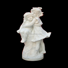 Playing children white stone garden statue