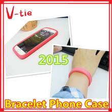 2015 Special design new bracelet, flexible silicone cell phone case for painting