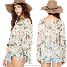 Women Floral Print Fashion Chiffon Blouse Summer Style Casual Blouses Tops