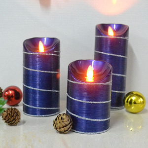 Party Glittering Colorful Wax LED Painted Flameless moving Pillar Candle light