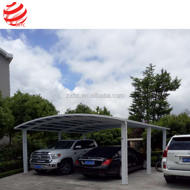 Metal Steel Tube/Aluminium Carports Garages With Polycarbonate Sheet Roof