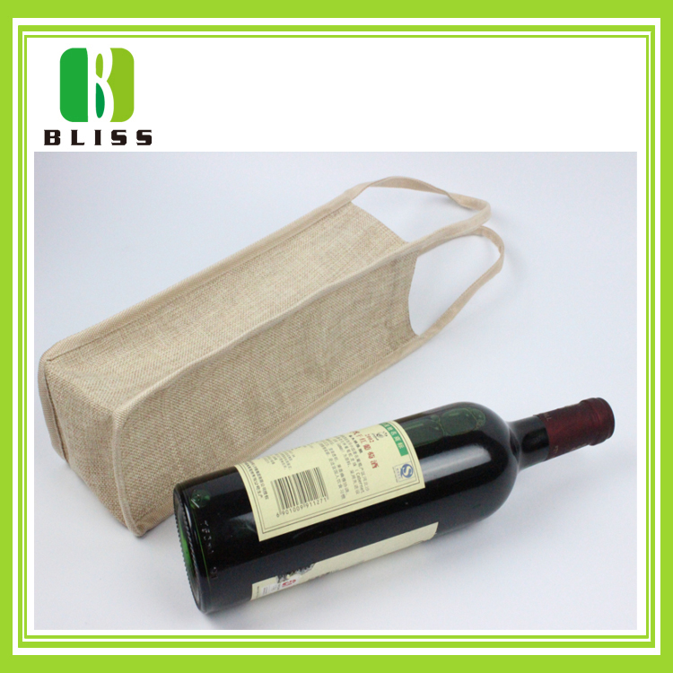 Durable easy carry custom printed one bottle jute wine bag