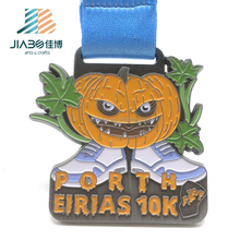 Marathon running Halloween Festival antique silver custom Pumpkin sport metal medal