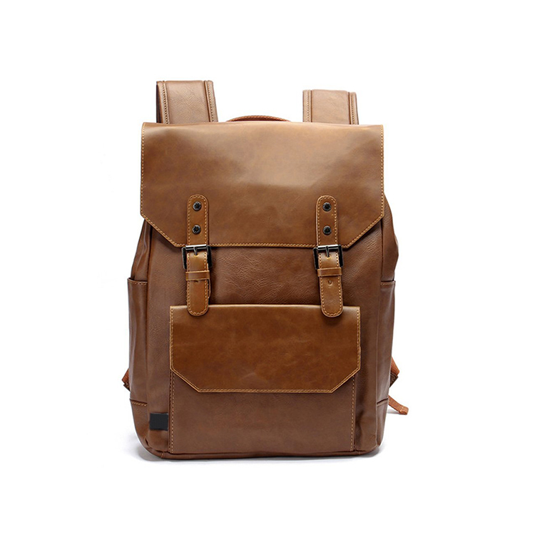 1BP0610 Wholesale Casual Brown PU Leather Laptop Backpack For School Girls And Boys