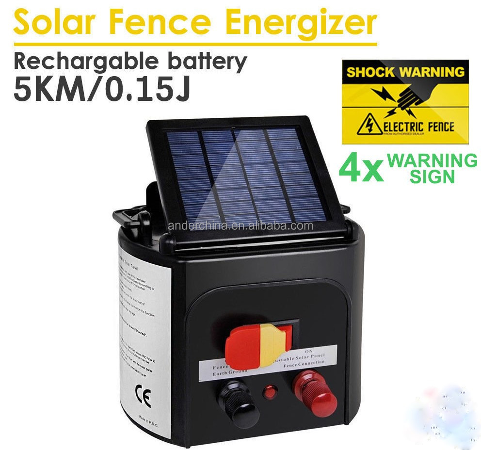 Farm Pet Animal 5km Solar Electric Fence Energiser Energizer Power Charger 0.15J