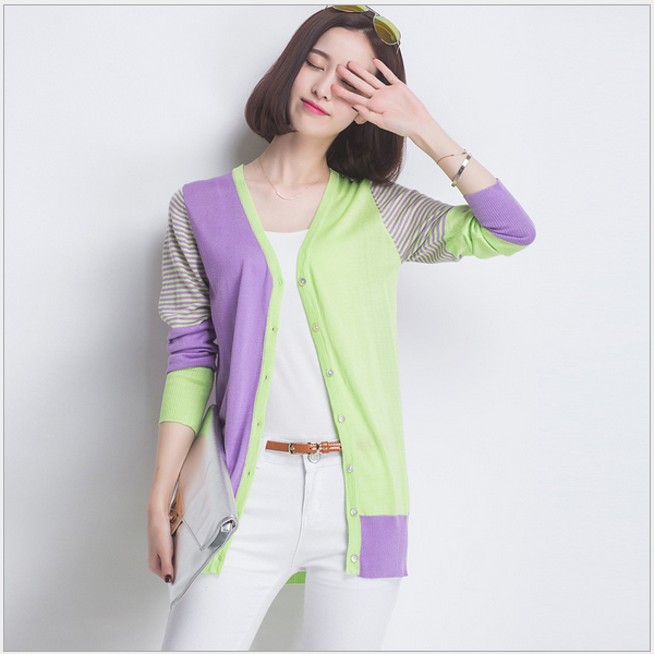 2016 Korean newsetsimple colorful women long cardigan sweater