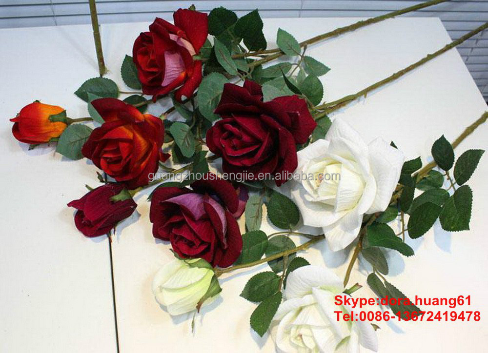 SJH112924 artificial flowers cheap artificial red rose flower big rose flower