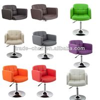 hot selling Colorful PU Leather chromed base bar stool chair with sponge inside