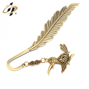 China factory wholesale top grade antique copper feather bookmark with pendant