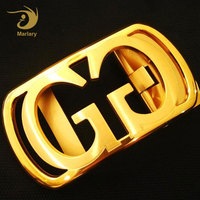 High-Grade Double G Design Stainless Steel Gold Plated Men Round Cowboy Belt Buckle
