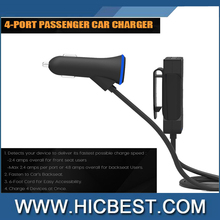 Universal 4 Port USB Car Charger for Front and Back Seat 36W 7.2A with 6 Feet Extension Cable for Iphone