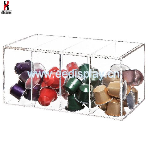 Clear Acrylic 4 Compartment Hinge Lid Nespresso Capsule Holder / Tea Bag Organizer Storage Box