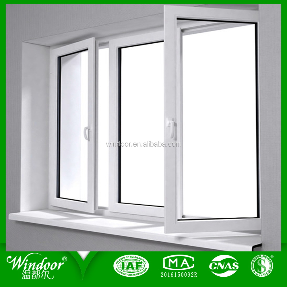 60/70 series PVC casement window with iron grilled screen UPVC casement window