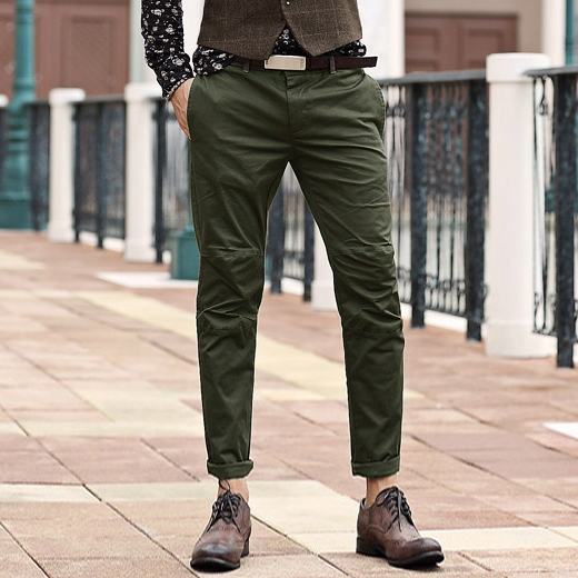 men Pants Men's Slim Fit Casual Narrow Pants Fashion Straight Dress Pants Skinny Smooth Army Green Trousers 2017 New Arrival