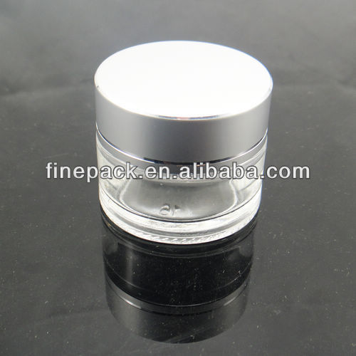 10g Round Clear Glass Cosmetic Container with Aluminum Cap for Cream