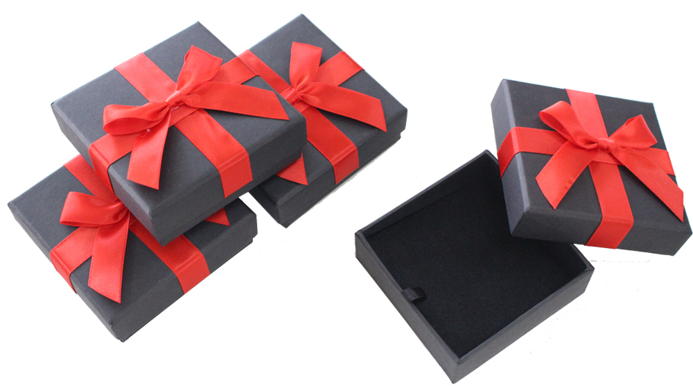 Black custom velvet wedding earring ring box with ribbon tie