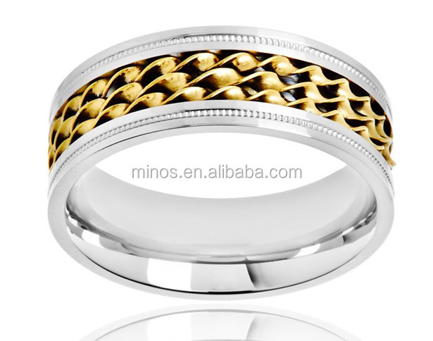 Crucible Stainless Steel Triple Twisted Rope Inlay Milgrain Ring, New Design Foot Finger Ring