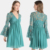 Women V Neck Long Belled Sleeves Lace Dress