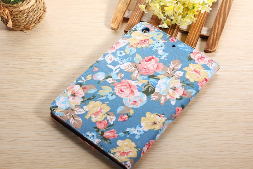 High Quality Flower Pattern Flip Leather Cover Case For Ipad Mini 2
