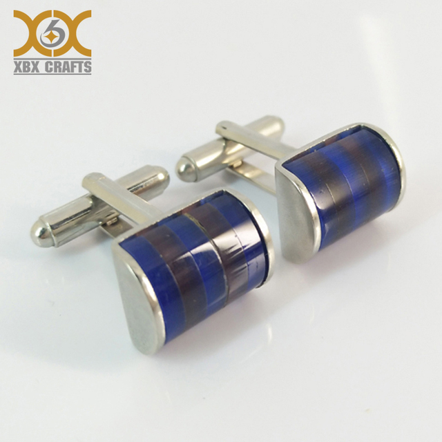high quality custom sport cuff link, wedding cufflinks with crystal blue