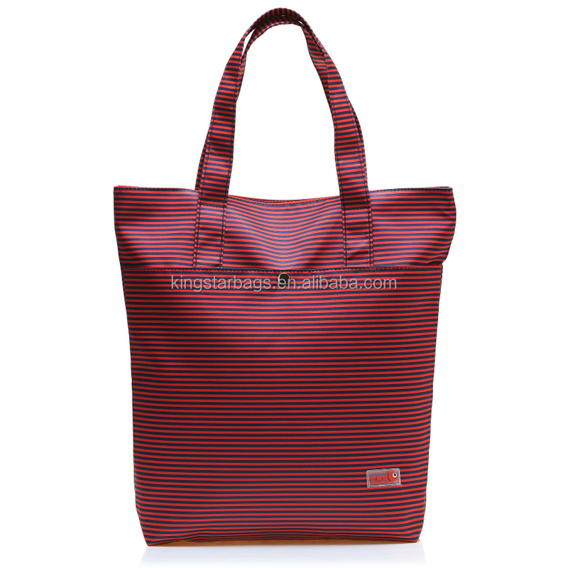 nylon tote bag with outside pockets