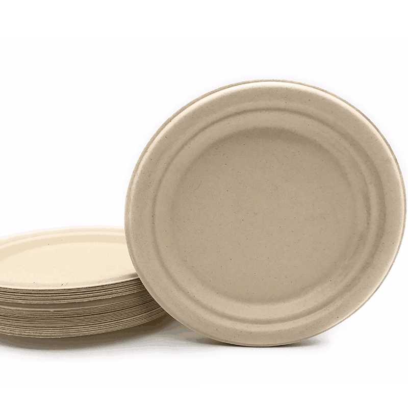 "9"" in Round Disposable Plates Natural Sugarcane Bagasse Compostable Eco Friendly Environmental paper plate"