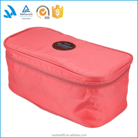 Travel pink private label wholesale polyester cosmetic toiletry bags