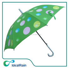Auto open green walker balloon big dots print umbrella