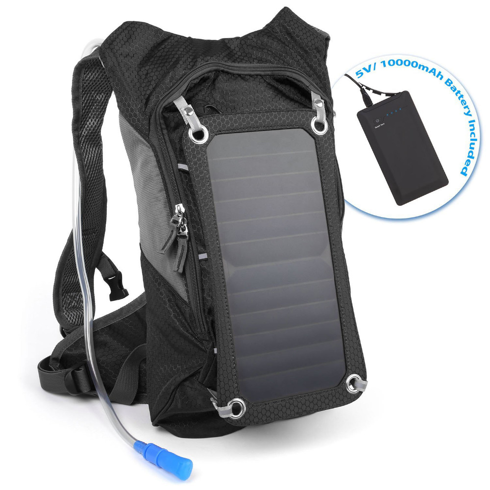 Hydration Backpack With Suction Pipe And 7 Watts Solar Powered Panel Solar backpack