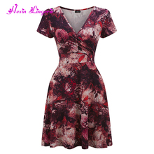 Online shopping plus size red floral ladies simple fashion plus size dress