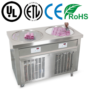 CE certificated double flat round pan durable fruit juice fry ice cream machine maker for export