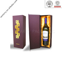 decorative paper wine bottle box with cardboard divider