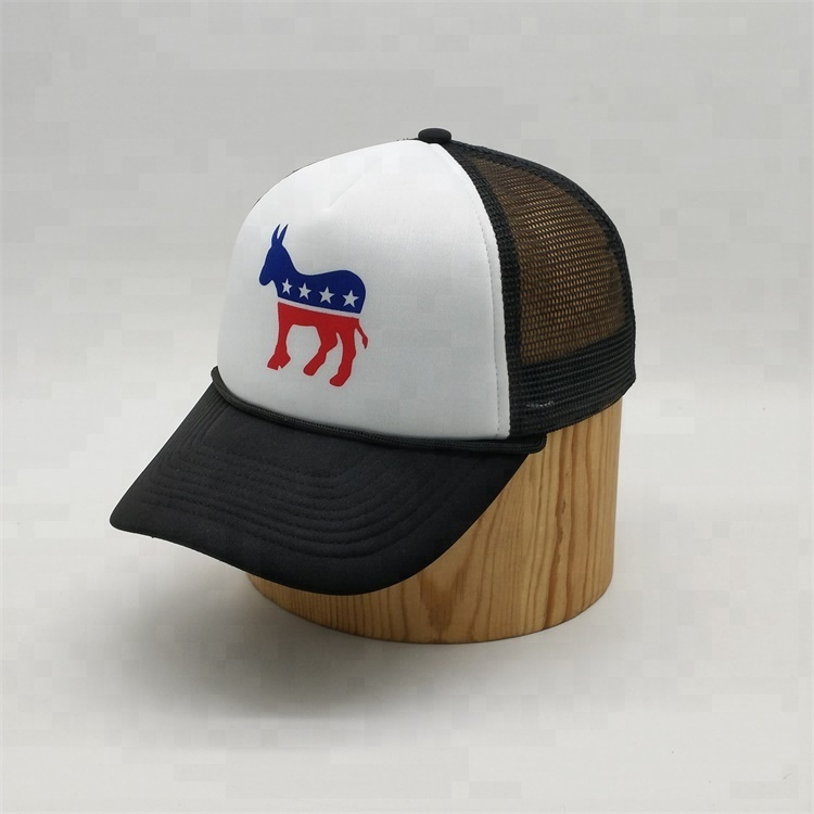 Custom 5 Panel Horse Printed Short Bill Foam Plain Trucker <strong>Cap</strong> Mesh Hat