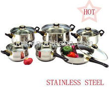 12Pcs Happy Baron Stainless Steel Cookware Set Capsule Bottom Cookware Set