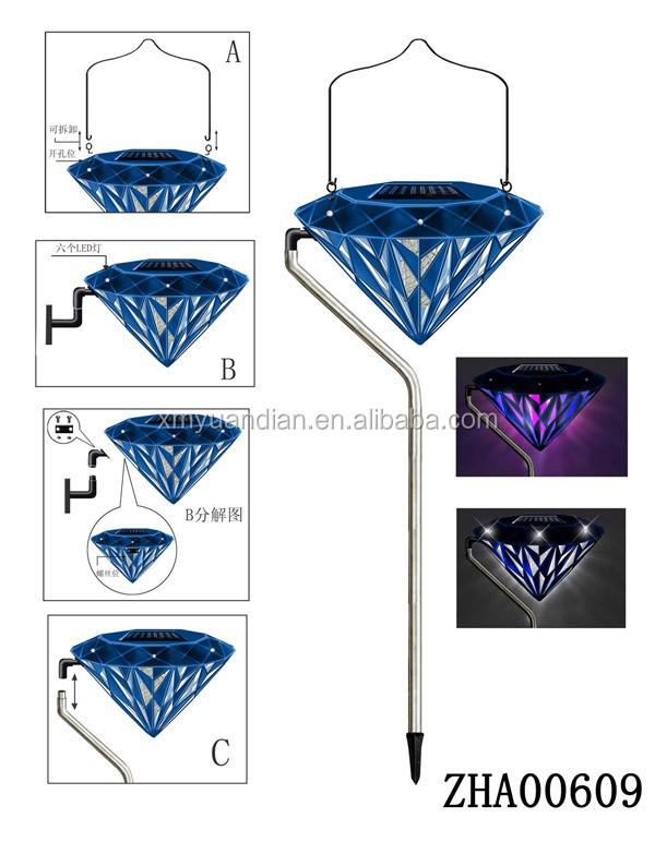 2015 solar Led diamond design decorative bug zapper