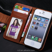 Hot Fashion Stand Flip Purse Cover Credit Card Slot Photo Album Slim Smart PU Leather Case for IPhone 4 4S 5 5S 5C RCD02342