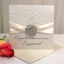 Hot Sale Latest Customize Muslim Wedding Invitation Card with lace